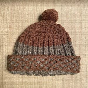 Brown and Gray Crocheted Hat